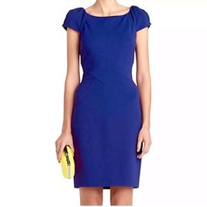 DVF Ponte Royal Blue Helen Cap Sleeve Sheath Dress